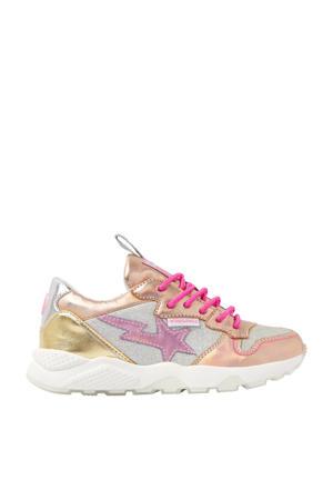 Zetta  sneakers met glitters  roségoud/metallic