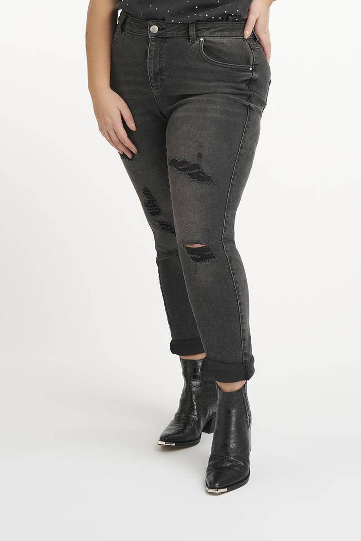 MS Mode high waist mom jeans antraciet/zwart, Antraciet/zwart