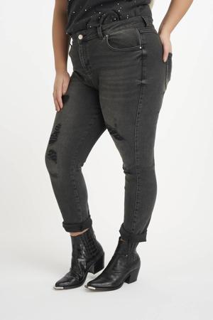 high waist mom jeans antraciet/zwart
