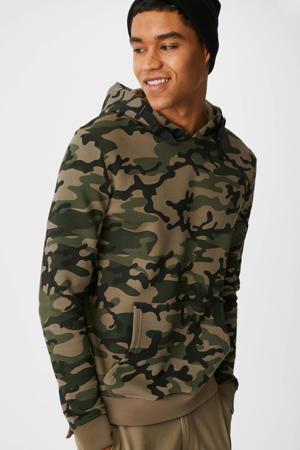 hoodie met camouflageprint groen
