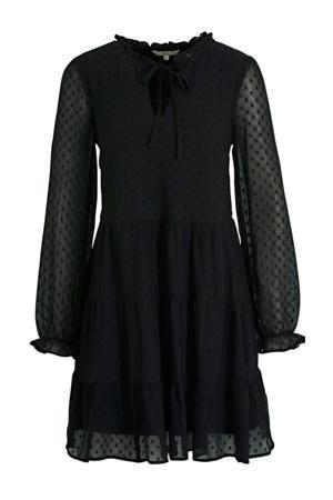 semi-transparante jurk met ruches zwart