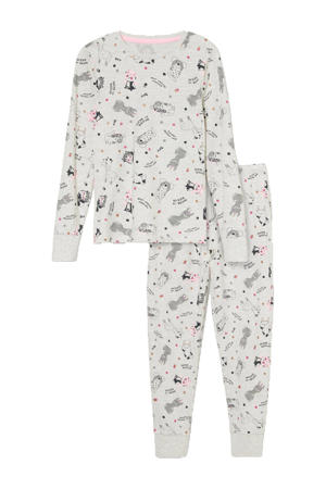 pyjama dierenprint lichtgrijs