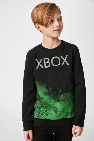 sweater met tekst zwart/groen/wit