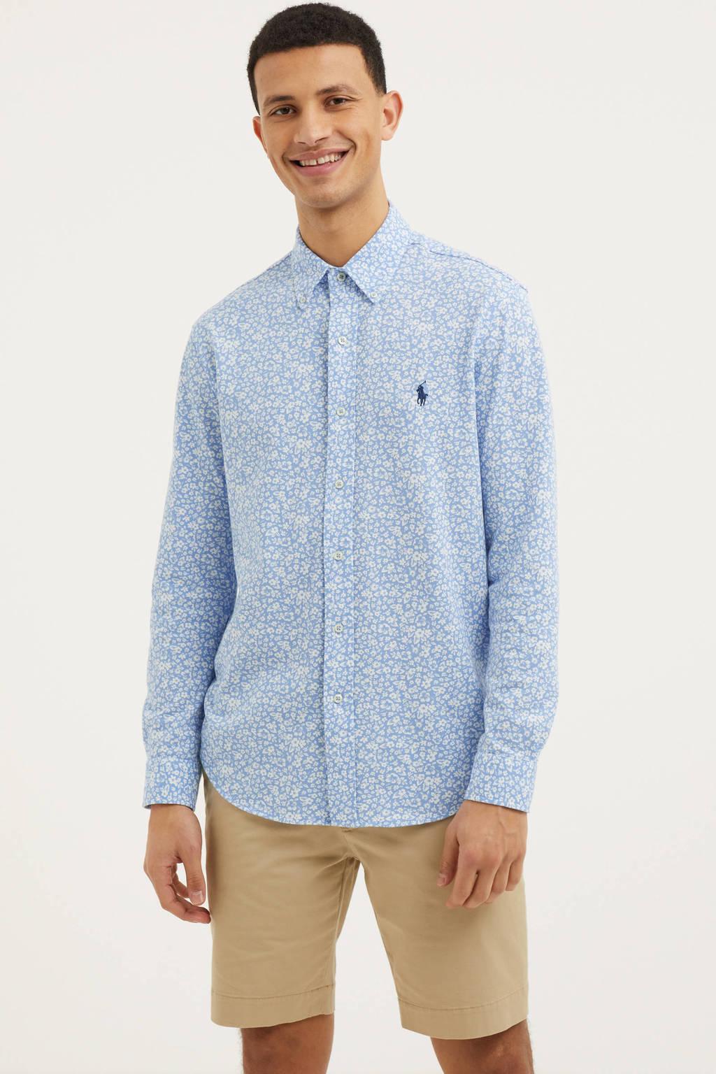 POLO Ralph Lauren regular fit overhemd met all over print lichtblauw/wit, Lichtblauw/wit