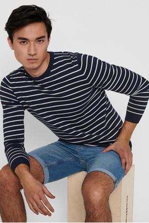 gestreepte trui donkerblauw/wit
