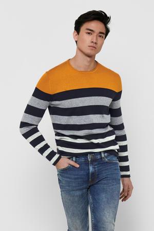 gestreepte fijngebreide trui Don oker/grijs/donkerblauw