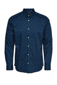 ONLY & SONS slim fit overhemd Sander met all over print donkerblauw, Donkerblauw