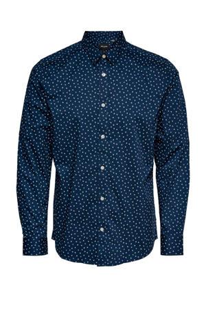 slim fit overhemd Sander met all over print donkerblauw
