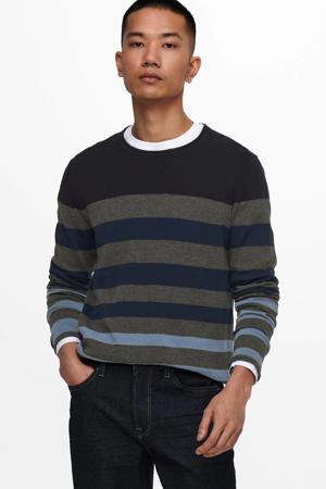 gestreepte fijngebreide trui Don navy/antraciet/lichtblauw