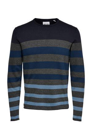 gestreepte fijngebreide trui Don donkerblauw