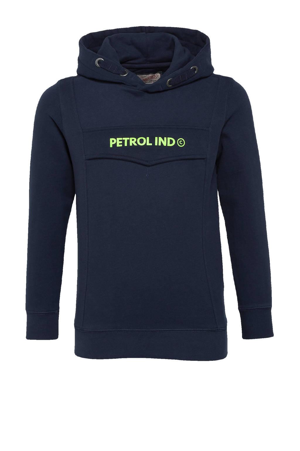 Petrol Industries hoodie met logo donkerblauw, Donkerblauw