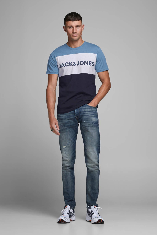 JACK & JONES ESSENTIALS T-shirt met logo blauw/wit/donkerblauw, Blauw/wit/donkerblauw