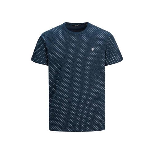 JACK & JONES PREMIUM T-shirt met all over print donkerblauw