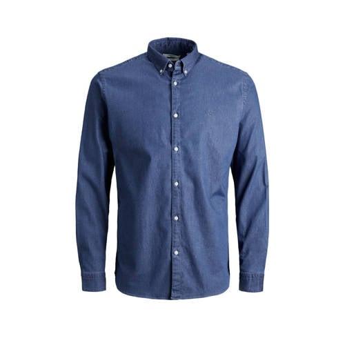 JACK & JONES PREMIUM slim fit denim overhemd BLALOGO blauw