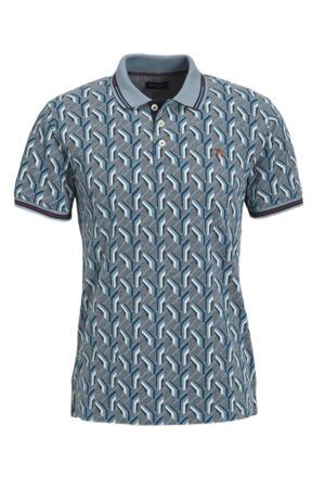 regular fit polo Luwin met contrastbies blauw/grijs