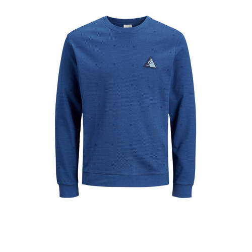 JACK & JONES CORE sweater Barbar met all over print kobaltblauw