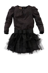 Z8 jurk Tatjana met plooien zwart, Zwart