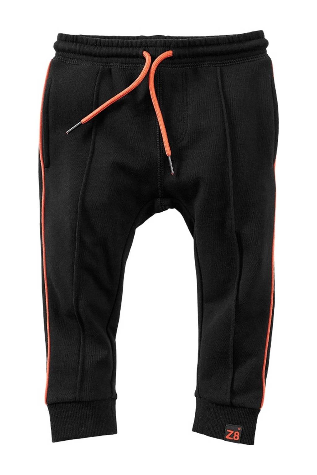 Z8 joggingbroek Duko met zijstreep zwart/oranje, Zwart/oranje