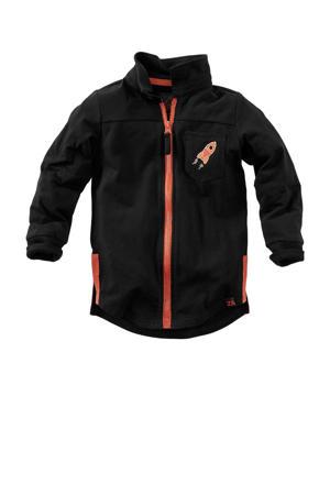vest Baas met contrastbies zwart/oranje