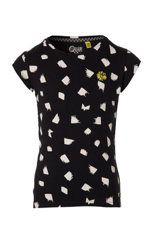 T-shirt Felicia met all over print zwart/wit