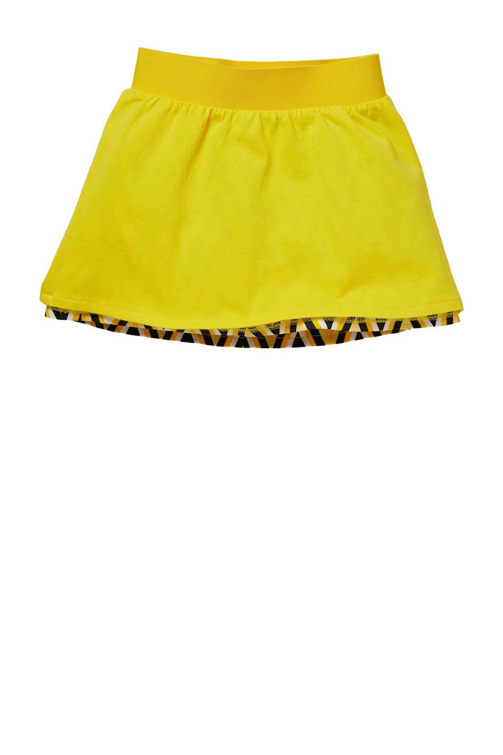 Quapi Mini reversible rok Gonda met all over print en plooien geel, Geel