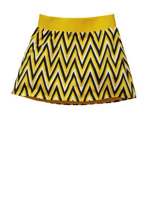 reversible rok Gonda met all over print en plooien geel