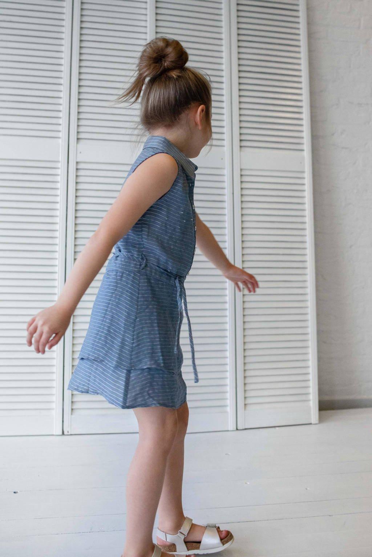 Quapi Girls gestreepte blousejurk Fanya lichtblauw, Lichtblauw