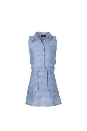 gestreepte blousejurk Fanya lichtblauw