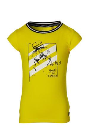 T-shirt Fara met contrastbies geel