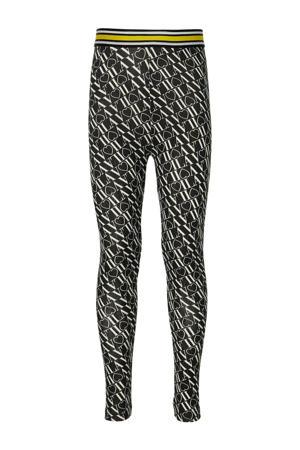 regular fit legging Flo met all over print zwart tekst