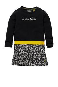 Quapi Mini gebloemde jurk Genova zwart/grijs/geel, Zwart/grijs/geel