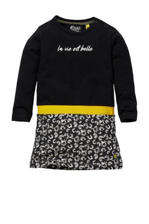 gebloemde jurk Genova zwart/grijs/geel