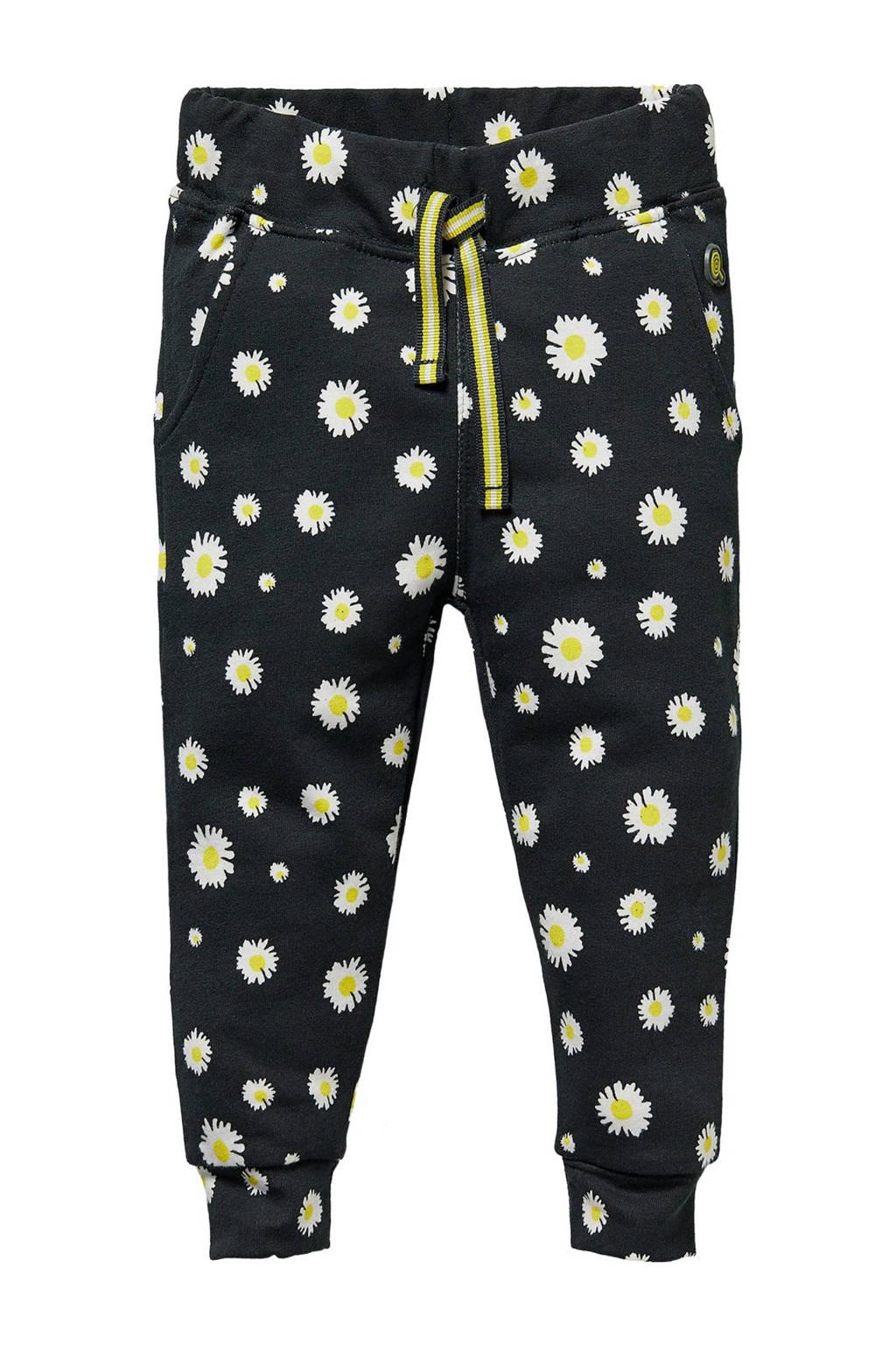 Quapi Mini gebloemde regular fit broek Gracy zwart/wit/geel, Zwart/wit/geel