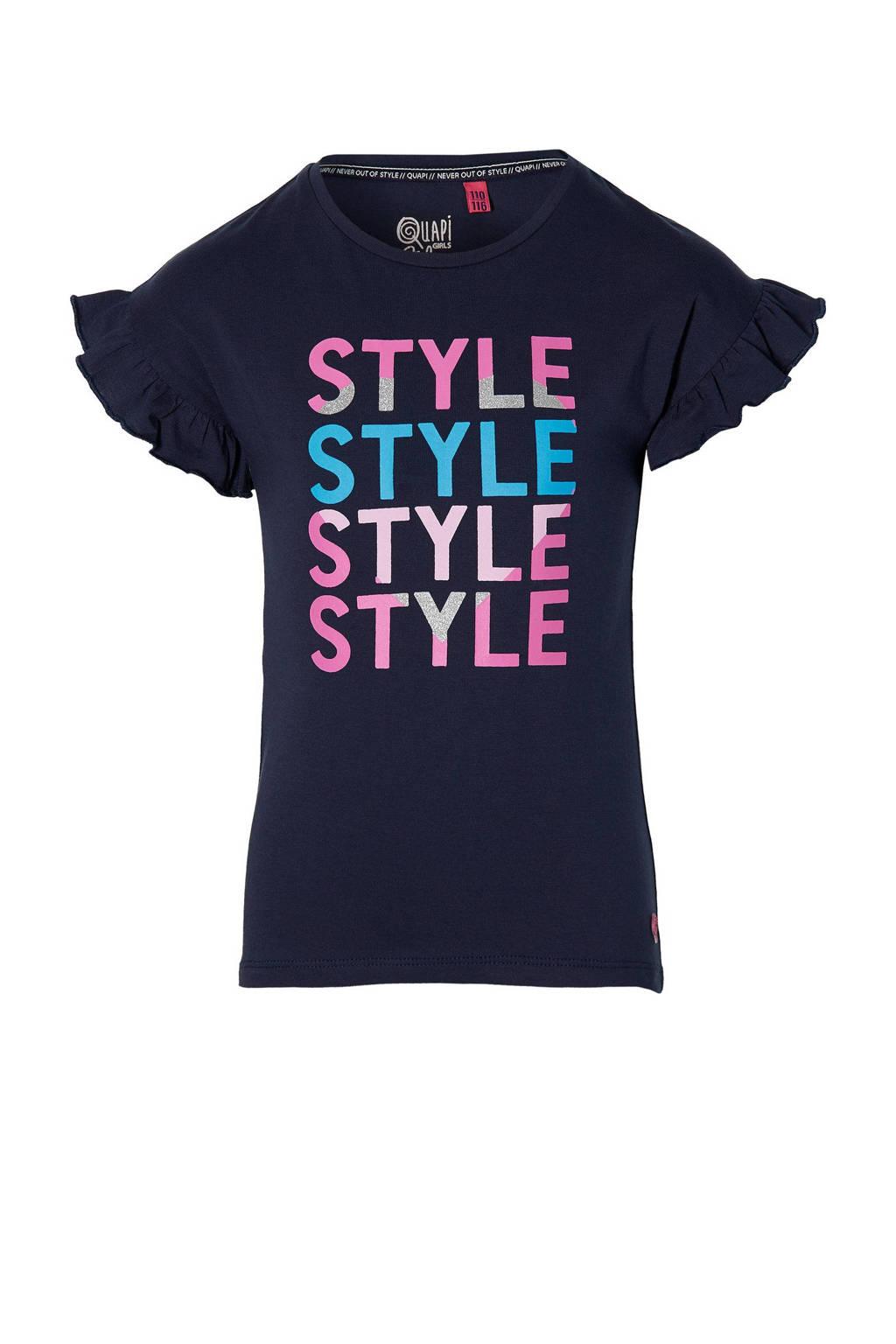 Quapi Girls T-shirt Fenja met tekst en ruches donkerblauw, Donkerblauw