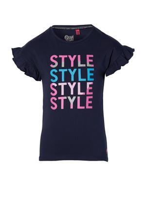 T-shirt Fenja met tekst en ruches donkerblauw