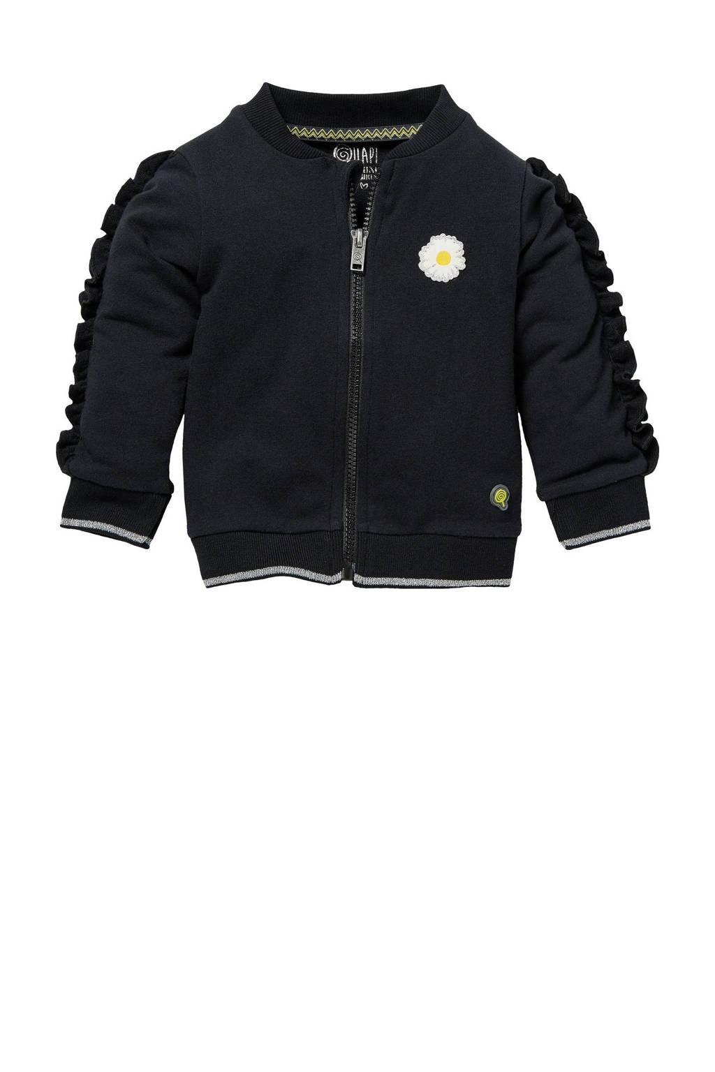 Quapi Mini vest Gina met borduursels zwart, Zwart