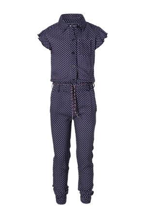 jumpsuit Francky met stippen donkerblauw/wit