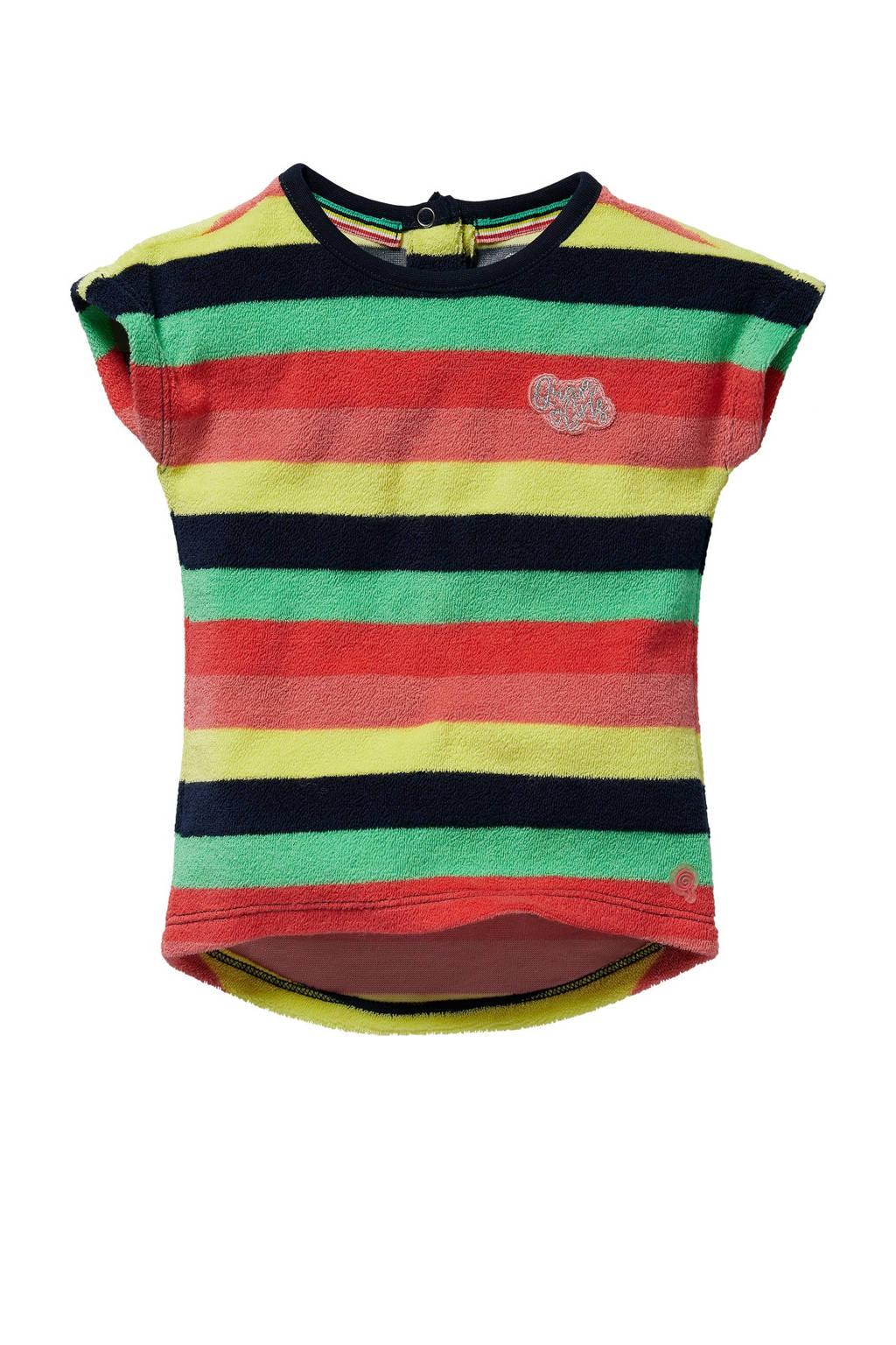 Quapi Mini gestreepte badstof T-shirtjurk Gisa roze/multicolor