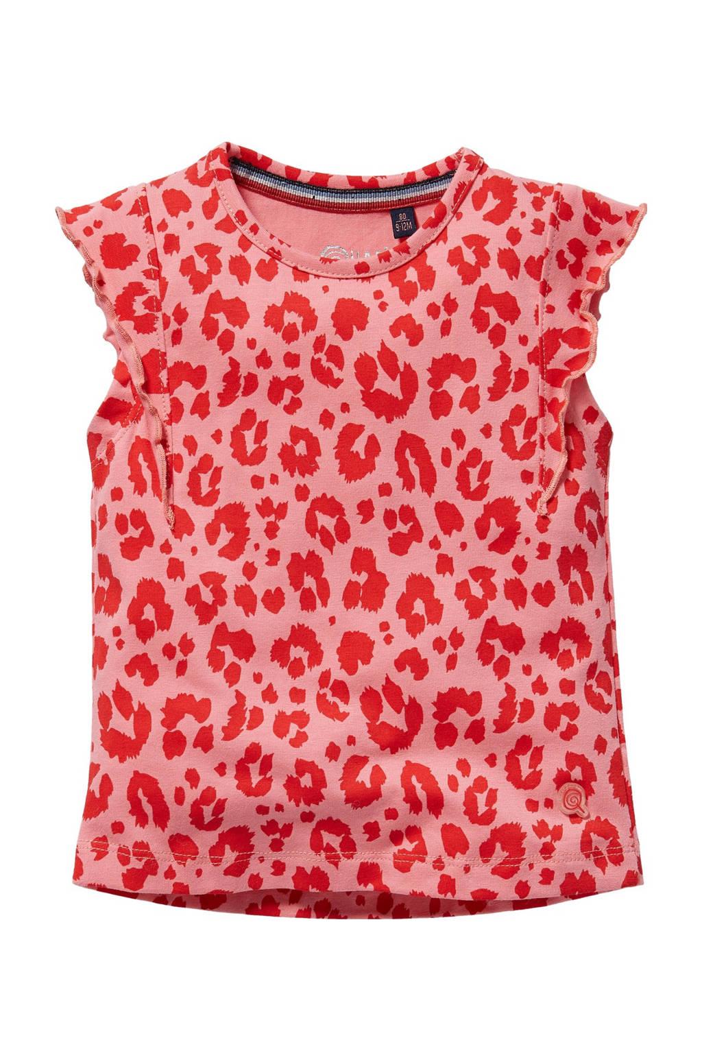Quapi Mini T-shirt Gerdy met panterprint en ruches roze/rood, Roze/rood