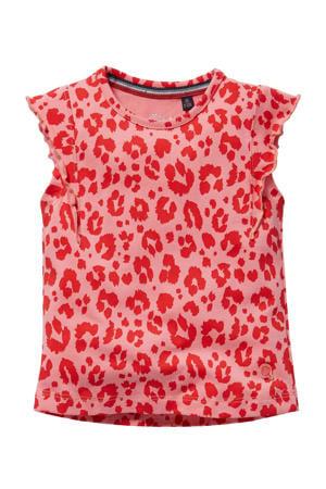T-shirt Gerdy met panterprint en ruches roze/rood