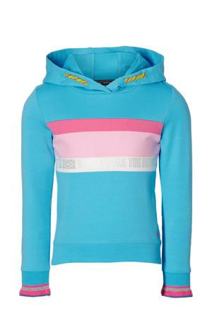 hoodie Filia met printopdruk aqua blauw/roze/wit