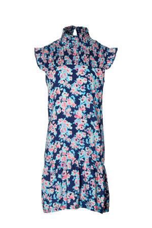 gebloemde jurk Fabiene donkerblauw/roze/lichtblauw