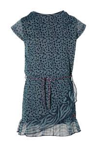Quapi Girls semi-transparante jurk Faida met stippen en ruches blauw/donkerblauw, Blauw/donkerblauw