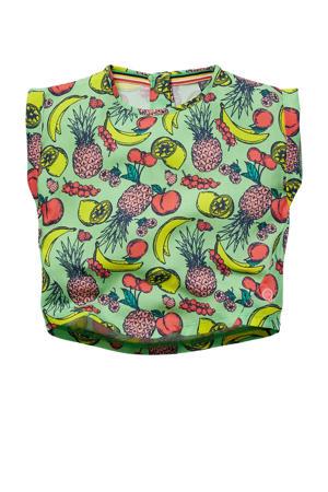 T-shirt Gisella met all over print fris groen/multicolor