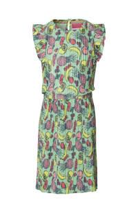 Quapi Girls jurk Faam met all over print en ruches groen/multicolor, Groen/multicolor