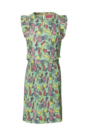 jurk Faam met all over print en ruches groen/multicolor