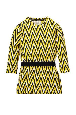 jurk Gardina met all over print geel/zwart/wit