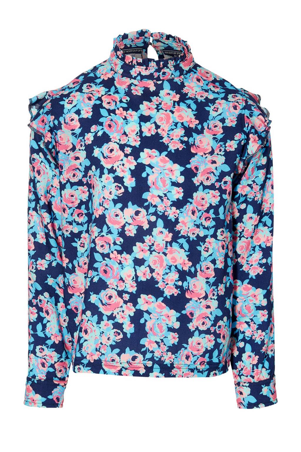 Quapi Girls gebloemde top Fian donkerblauw/roze/lichtblauw, Donkerblauw/roze/lichtblauw
