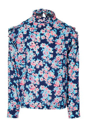 gebloemde top Fian donkerblauw/roze/lichtblauw