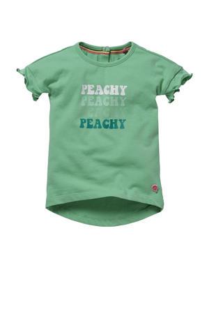 T-shirt Goldy met tekst en ruches fris groen